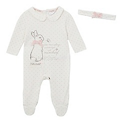 Beatrix Potter - Baby girls' cream polka dot 'Peter Rabbit' sleepsuit and headband set