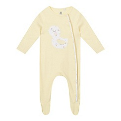 bluezoo - Baby girls' yellow duck applique sleepsuit