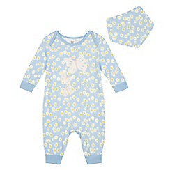 bluezoo - Baby girls' light blue daisy print sleepsuit and bib