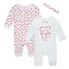 bluezoo - Pack of two baby girls' white dragonfly sleepsuits
