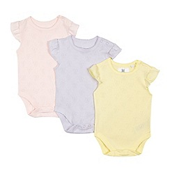 bluezoo - Pack of three baby girls' assorted bow cut-out bodysuits