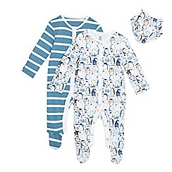 bluezoo - Pack of two baby boys' blue striped and white penguin print sleepsuits and bib set in gift bag