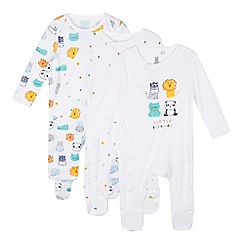 bluezoo - Pack of three baby boys' white animal friends sleepsuit