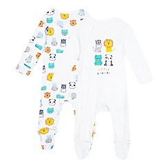 bluezoo - Pack of three baby boys' white animal friends sleepsuits with gift bag