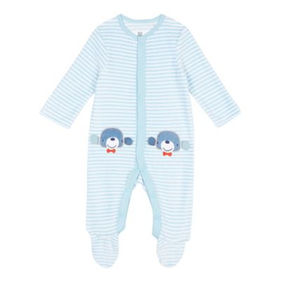 bluezoo Baby boys striped velour sleepsuit