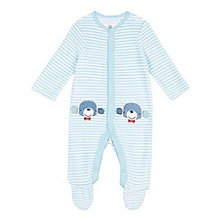 bluezoo - Baby boys' striped velour sleepsuit
