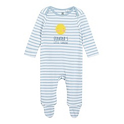 bluezoo - Baby boys' blue striped 'Grandpa's Little Sunshine' sleepsuit