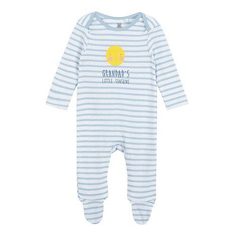 bluezoo - Baby boys+ blue striped +Grandpa+s Little Sunshine+ sleepsuit