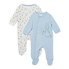 Beatrix Potter - Pack of two baby boys' blue and cream 'Peter Rabbit' sleepsuits