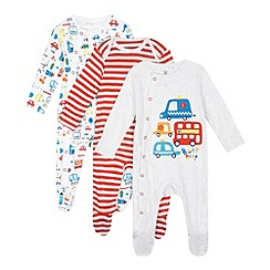 bluezoo - Pack of three baby boys' red transport sleepsuits