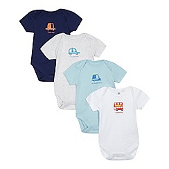 bluezoo - Pack of four baby boys' assorted transport bodysuits in a gift bag