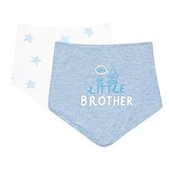 bluezoo - Pack of two baby boys' light blue and white 'Little brother' dribble bibs