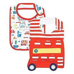 bluezoo - Pack of two baby boys' red transport print bibs