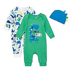 bluezoo - Pack of two baby boys' green and blue dinosaur sleepsuits and hat set