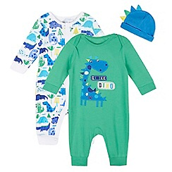 bluezoo - Pack of two baby boys' green and blue dinosaur sleepsuits and hat set in gift bag