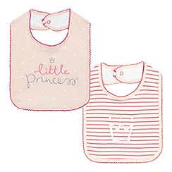 bluezoo - Baby girls' pack of two pink 'little princess' bibs