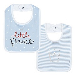 bluezoo - Baby boys' pack of two light blue 'little prince' bibs