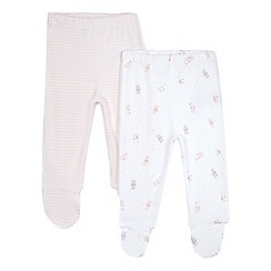 bluezoo - Pack of two baby girls' pink striped and bunny print footed leggings