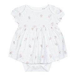 bluezoo - Girls' white bunny print 2-in-1 bodysuit dress