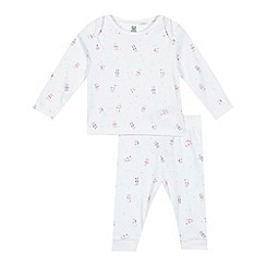 bluezoo - Baby girls' white bunny print top and bottoms set
