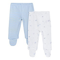 bluezoo - Pack of two baby boys' blue striped and car print footed leggings