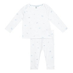 bluezoo - Baby boys' white vehicle print top and bottoms set