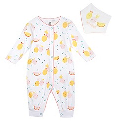 bluezoo - Baby girls' fruit print sleepsuit and bib