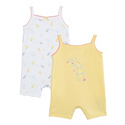 bluezoo - Pack of two baby girls' yellow and white bunny print romper suits