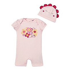 bluezoo - Baby girls' pink floral print romper suit and hat