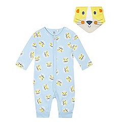 bluezoo - Baby boys' blue lion print sleepsuit and bib set