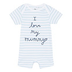 bluezoo - Baby boys' blue striped print 'I love my daddy' romper suit