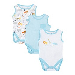 bluezoo - Pack of three baby boys' white and blue tribe detail bodysuits