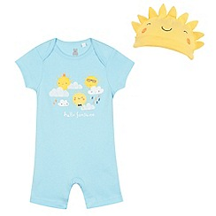 bluezoo - Baby boys' blue 'hello sunshine' print romper and hat set