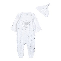 bluezoo - Baby girls' white spotted 'Born in 2016' sleepsuit and hat set