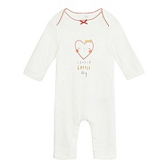 bluezoo - Baby girls' white heart print 'Lovely Little Thing' sleepsuit