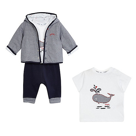J by Jasper Conran - Baby boys+ navy whale applique hoodie, t-shirt and shorts set