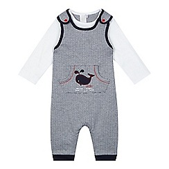 J by Jasper Conran - Baby boys' navy whale embroidered dungarees