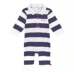J by Jasper Conran - Baby boys' white and navy striped print romper suit