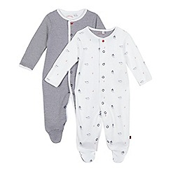 J by Jasper Conran - Pack of two baby boys' white boat and navy fine striped print sleepsuits