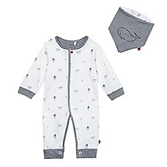 J by Jasper Conran - Baby boys' white boat and whale print romper suit and bib set