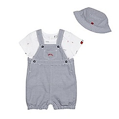 J by Jasper Conran - Baby boys' white and navy striped top and dungarees set with a hat