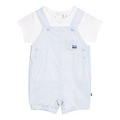 J by Jasper Conran - Baby boys' light blue gingham print dungarees and white t-shirt set