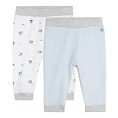 J by Jasper Conran - Pack of two baby boys' white train and blue striped print bottoms