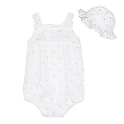 J by Jasper Conran - Baby girls' white floral print romper suit and hat set
