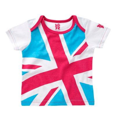 Babys pink Union Jack t-shirt