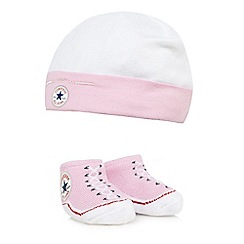 Converse - Baby girls' pink logo cap and booties set