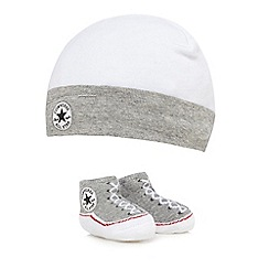 Converse - Baby boys' grey logo cap and booties set