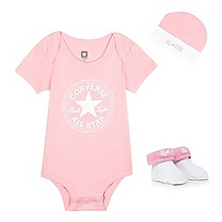 Converse - Baby girls' pink logo print bodysuit, cap and pair of booties