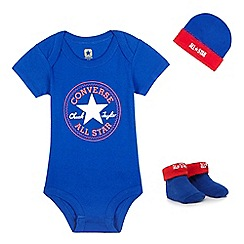 Converse - Baby boys' navy logo print bodysuit, cap and pair of booties