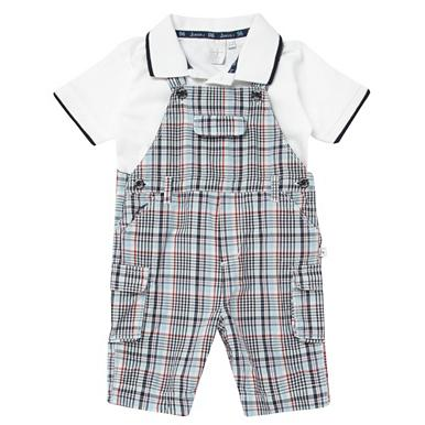 Designer Babies blue check bibshorts set